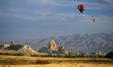 Hot air balloons in the sky, Uchisar, Cappadocia, Turkey