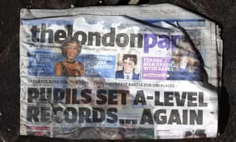 A disgarded wet copy of the London Paper