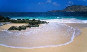 Playa de las Conchas, view to island Montana Clara, La Graciosa, Canary Islands, Spain