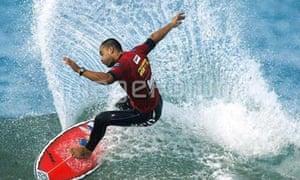 Pro surfer Peterson Rosa of Brazil in Portugal, Figueira da Foz