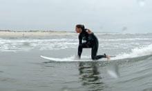 Gemma Bowes surfing at Figueria da Foz, Portugal