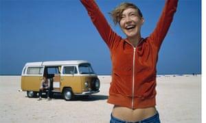 Woman and camper van