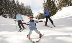 Family skiing at Montalbert, LaPlagne, France