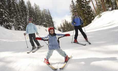 Family skiing at Montalbert, LaPlagne, France