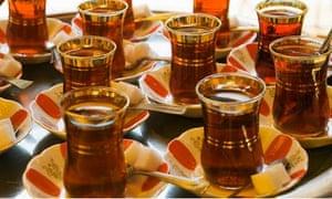 Glasses of Turkish Tea on Tray