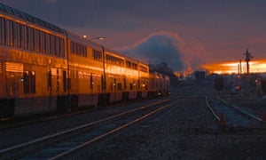 Sunrise behind a train in Arizona