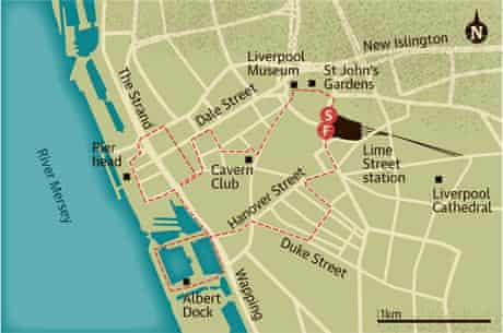 Walking map of Liverpool city centre
