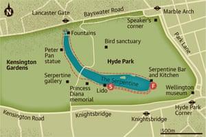 Walking map of Hyde Park, London