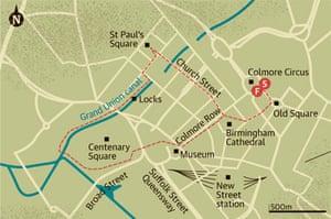 Walking map of Birmingham city centre