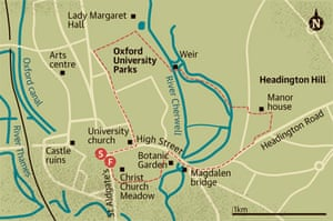 Walking map of Oxford University Parks