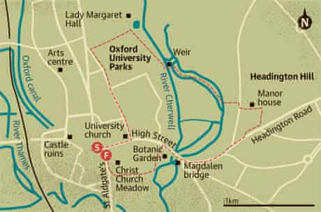 Walking map of Oxford University Parks