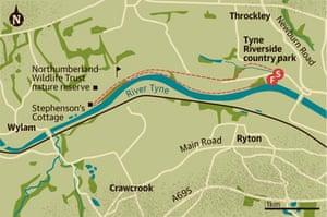 Walking map of Tyne Riverside country park, Newcastle