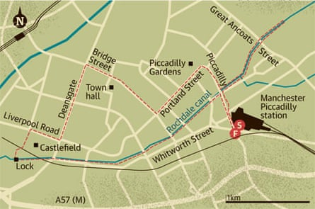 Walking map of Rochdale canal, Manchester