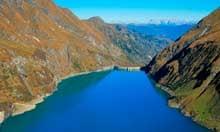 Reservoir Wasserfallboden with Limberg Dam, Austria