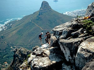 Abseiling from the top of Table Mountain, Cape Town