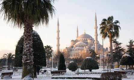 Istanbul's Blue Mosque in the snow.