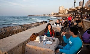 A cafe on the Corniche, Beirut, Lebanon