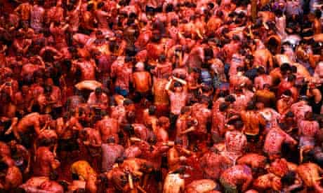 Crowd at the Tomatina Festival, Bunol, Spain