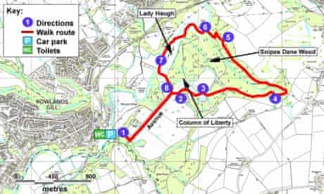 Gibside walk map, Tyne and Wear