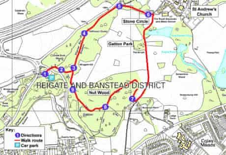 Gatton Park, Surrey walk map