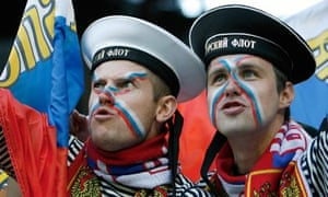Russian fans in sailors hats