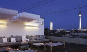 Roof terrace at Hotel Amano at night