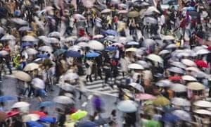 Rainy Rush Hour in Shibuya District of Tokyo
