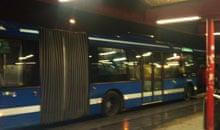 Blue buses in Stockholm, Sweden