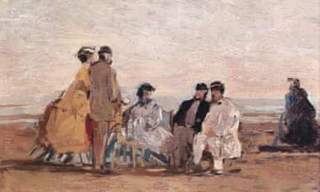 On the Beach at Trouville, by Eugene Boudin