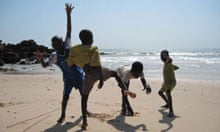 Kids on the beach at Toubab Dialao, Senegal