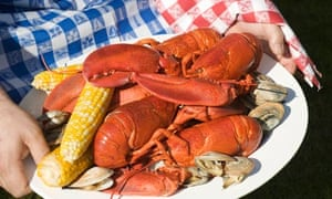 Plate of lobster, clams and corn on the cob