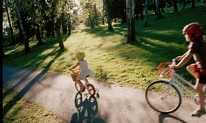 Children cycling on bikes in Sweden