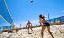 Playing beach volleyball at Yellowave, Brighton