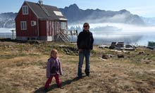Sarah Gavron in Greenland with daughter Lily.