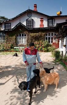 India man and dog