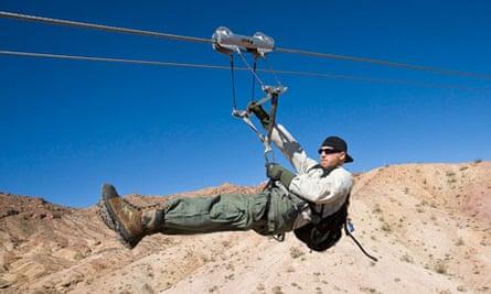 Zip-lining in Bootleg Canyon