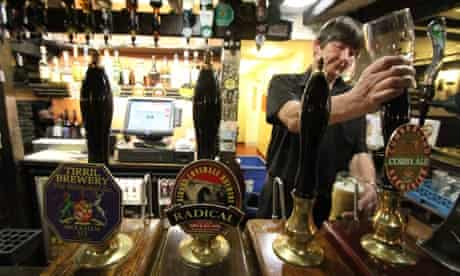 Local heroes … real ale on offer at Wainrights in Langdale in the Lake District.