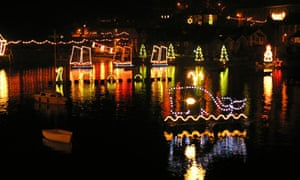 Mousehole Harbour Christmas lights