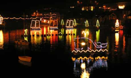 Mousehole Harbour Christmas lights