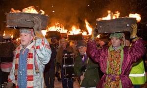 New Year tar barrel procession, Allendale, Northumberland, UK.