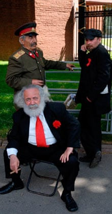 Lenin, Stalin, Marx impersonators in Moscow
