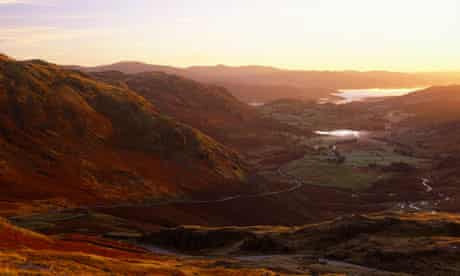First light over Wrynose Pass, with Lake Windermere in the distance