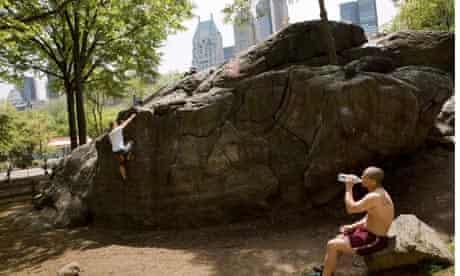 Men bouldering in Central Park, New York