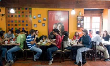 Cafe society in La Candelaria district of Bogota