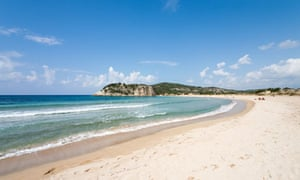 Sands of time … Voidokilia beach in Greece where hospitality was 'born'