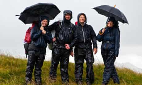 Hikers braving the rain below Scafell Pike