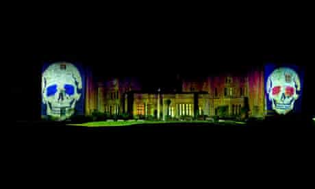 Halloween night laser show at Muncaster Castle, Laake District, Cumbria