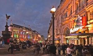 Picadilly Circus at dusk, London