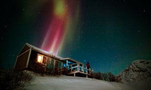 Hut and a light show, Greenland