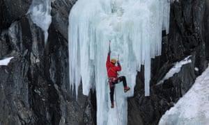 Ice-climbing, Rjukan, Norway